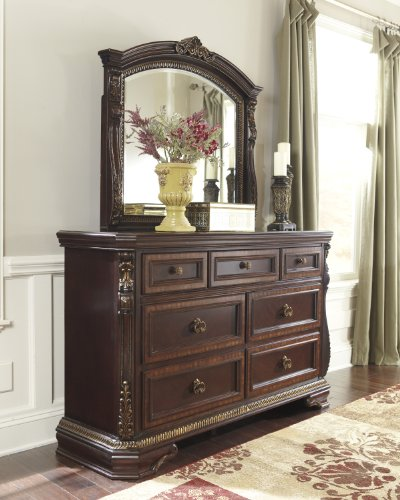 Wendlowe Collection Old World Style Dark Cherry Finish Ornate Bedroom Dresser front-968119