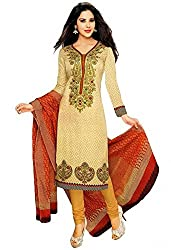 Awesome Fab Beige Colour Mix Cotton Printed Unstitched Dress Material