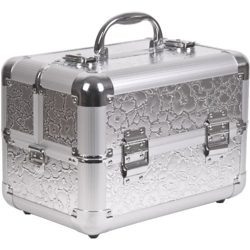 11.5 inch Embossed Silver Floral Pattern Aluminum Travel Organizer Makeup Artist Cosmetic Train Case