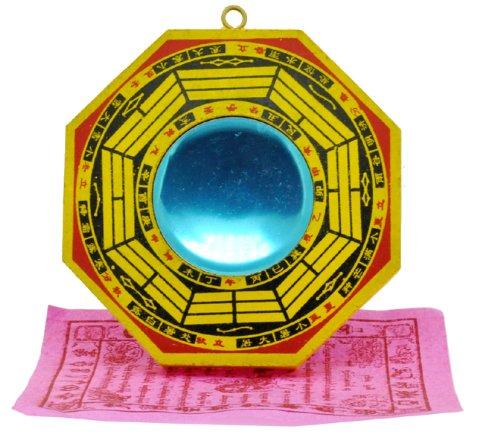 Chinese 4 Inches Wood Concave Feng Shui Mirror, Bagua Mirror for Feng Shui House and Feng Shui Office, Free Buddhist Lungta Prayer