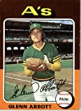 1975 Topps #591 Glenn Abbott Oakland Athletics Baseball Card In Protective Screwdown Display Case