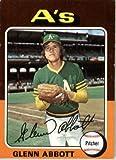 1975 Topps #591 Glenn Abbott Oakland Athletics Baseball Card In Protective Screwdown Display Case