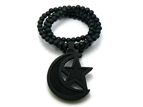 Islamic Black Crescent Moon Wood Emblem Pendant
