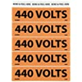"NMC JL22009O Voltage Marker, Legend ""440 VOLTS"", 4-1/2 Length x 1-1/8"" Height, Pressure Sensitive Vinyl, Black on Orange"