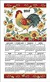 2017 Morning Song Rooster Susan Winget Linen Calendar Towel (F3317)