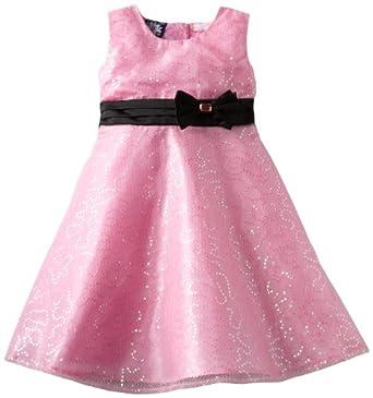 So La Vita Little Girls' Sequined Bow Detail Dress, Black/Pink, 5