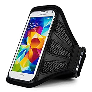SumacLife Mesh Workout Exercise Armband for Smartphones - Retail Packaging - Black/Black