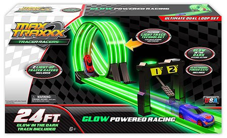 Skullduggery Krazy Kars Max Traxxx - Tracer Racers Ultimate Set 24 Foot Track, Starting Gates, Light Up Finish Gate, With Two Tracer Racers