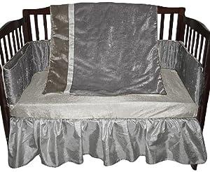 Baby Doll Crocodile Crib Bedding Set, Silver/Grey