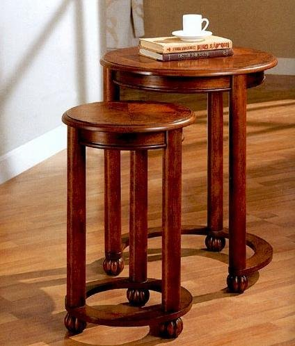 2PC Traditional Nesting Table Set In Rustic Oak Finish. By Toscana Home  Interiors