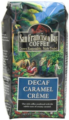 San Francisco Bay Coffee Whole Bean Decaf Caramel Creme Coffee, 12-Ounce Bag