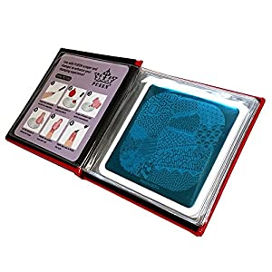 Pueen Nail Art Stamp Collection - Special Edition Encore 01-04 NEW Invention Set of 4 Double Sided All You Can Stamp Full Size Stamping Image Plates Manicure DIY (Infinite Images with Your Creativity) Now with Bonus Storage Case-BH000298
