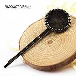 Antique Bronze Round Filigree Bobby Pins with Cabochon Setting Hair Pins for DIY Jewelry Making Supplies Findings 65mm 50piece/BP53