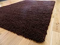 SMALL EXTRA LARGE RUG MODERN SOFT THICK SHAGGY RUGS NON SHED SHAG RUNNERS (Chocolate, 160 x 225cm)