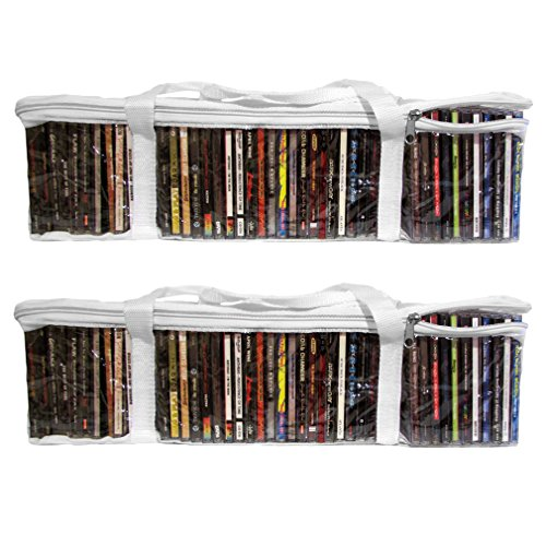 Find Bargain Evelots Set Of 2 CD Portable Zippered Clear Vinyl Storage Bag Holds 88 CD's