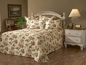 Stylemaster Emma Printed Floral Full Matelasse Bedspread, Natural