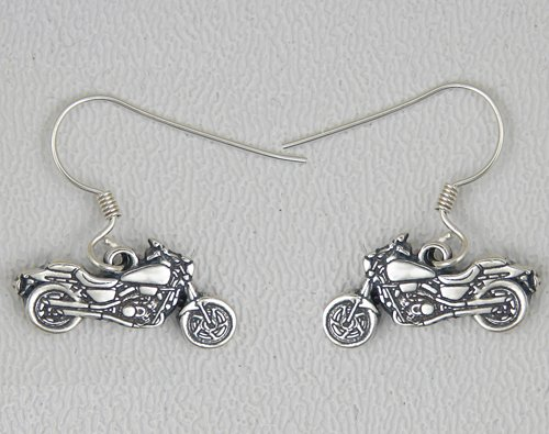 Motorcycle in Sterling Silver Earrings Made in America