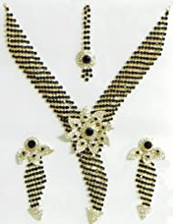 Black And White Stone Studded Necklace, Earrings And Maang Tikka - Stone And Metal