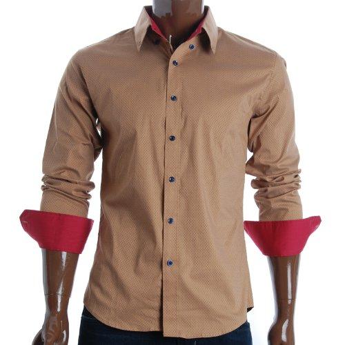 FLATSEVEN Mens Slim Fit Polka Dot Dress Shirts (SH415) Begie, M