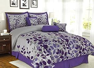 7 Piece Purple, Lavender, Grey Flocking Comforter Set Vine Bed In A Bag Queen Size Bedding