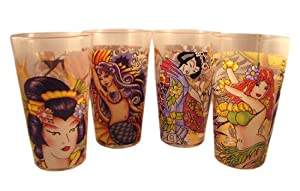 "Set of 4 Ed Hardy ""Dangerous Women"" Pint Glasses"