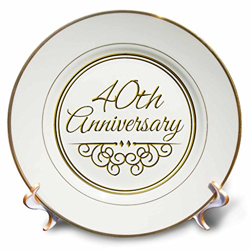 3dRose cp_154482_1 40th Anniversary Gift Gold Text for Celebrating Wedding Anniversaries 40 Years Married Together Porcelain Plate, 8-Inch