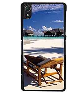 Printvisa Beautiful Seaside With Reclining Beach Chair Back Case Cover for Sony Xperia Z2::Sony Xperia Z2 L50W D6502 D6503