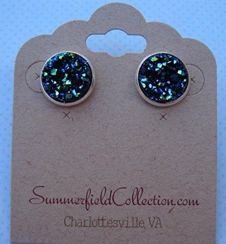 silver-tone-stud-earrings-12mm-blue-faux-druzy-stone