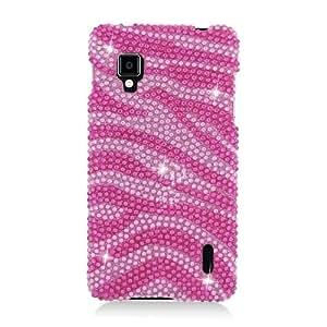 Eagle Cell PDLGLS970S302 RingBling Brilliant Diamond Case for LG Optimus G LS970 - Retail Packaging - Hot Pink Zebra