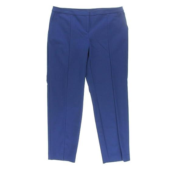 St John Womens Solid Flat Front Dress Pants