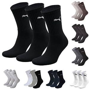 Puma Sports Socks - Unisex Crew 3P Pack Adult - Three Pair Packs Of Plain/Mix (BLACK, UK SIZE 2.5-5)