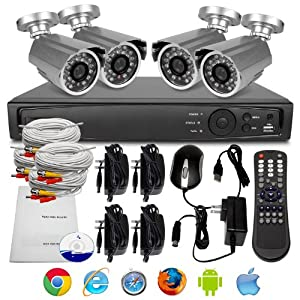 R-Tech LVCH-SK0804S 8-Channel Surveillance System with 4 Bullet Security Cameras (Silver)
