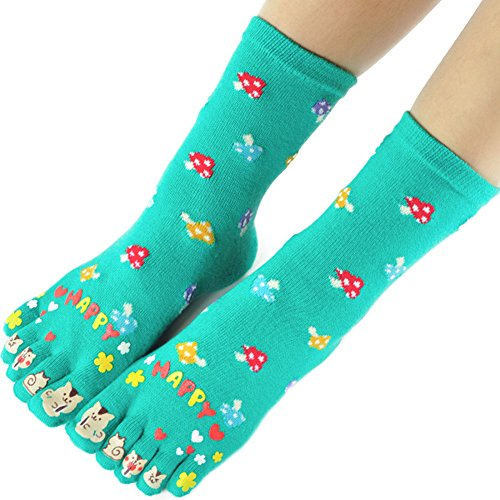 Women Toe Socks Funky Finger Socks Cute Cartoon Cotton Socks (01)