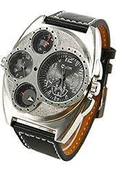 Rayshop - Men's Big Case Dual Time Zones Leather Band Quartz Wrist Watch (Assorted Colors) ( Color : Black )
