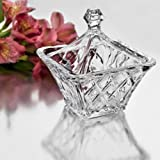 StudioSilversmiths 44040 Square Crystal Candy Box With Diamond Cut Design