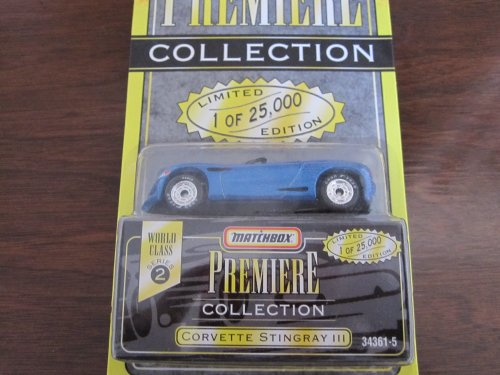 1995 - Tyco - Matchbox Premiere Collection - World Class Series 2 - Covette Stingray III - Metallic Blue Convertible - #34361-5 / 1:64 Scale Die Cast - 1 of 25,000 - New - Out of Production - Limited Edition - Collectible