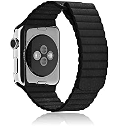 Apple Watch Band 42mm Leather Loop, IMPROVED DESIGN, by Moxio, Adjustable Magnetic Closure, Most Durable and Soft, No Buckle Needed, Replacement Apple Watch Band, (Leather Loop Black)