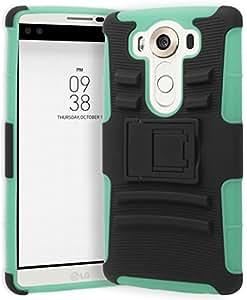LG V10 Phone Case, Bastex Heavy Duty Hybrid Soft Teal Silicone Cover Hard Black Holster Kickstand Case for LG V10