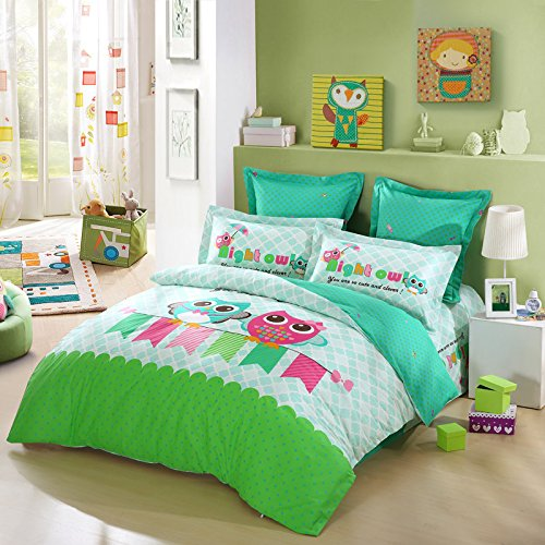 LOVO KID'S Best Friends Owl 100% Cotton 4-Piece Bedding Set Duvet Cover Fitted Sheet 2x Shams Twin