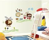 Topro Nursery Cartoon Lion On The Road Trucks Cars Helicopters Wall Art Sti...