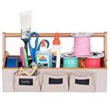G.U.S. Eco-Friendly Bamboo Arts and Crafts Supply Tool Caddy with Linen Pockets and Leatherette