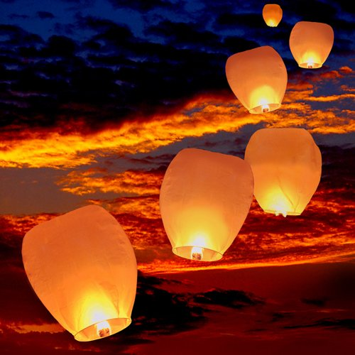 Set of 10 White Sky Lanterns - Chinese Flying