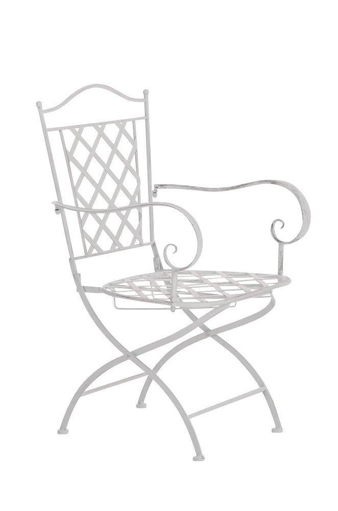 CLP nostalgischer Metall-Stuhl ADARA aus Eisen (aus bis zu 6 Farben wählen) antik-weiß