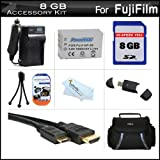 8GB Accessories Kit For Fuji Fujifilm X100S 16 MP Digital Camera Includes 8GB High Speed SD Memory Card + Extended Replacement (1800maH) For Fuji NP-95 Battery + AC/DC Travel Charger + Mini HDMI Cable + USB Card Reader + Case + Screen Protectors + More