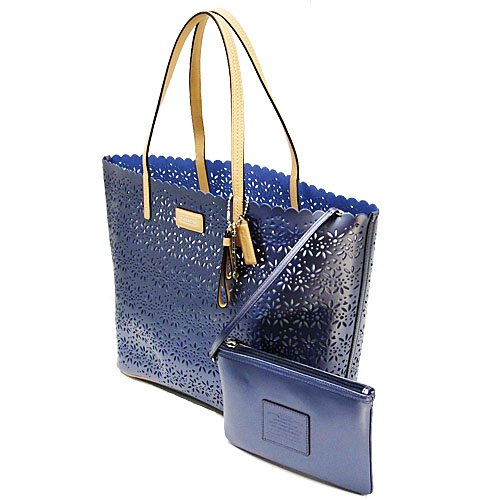 Coach   Coach Park Metro Eyelet Leather Tote with Wristlet in Slate Blue - Style 27544