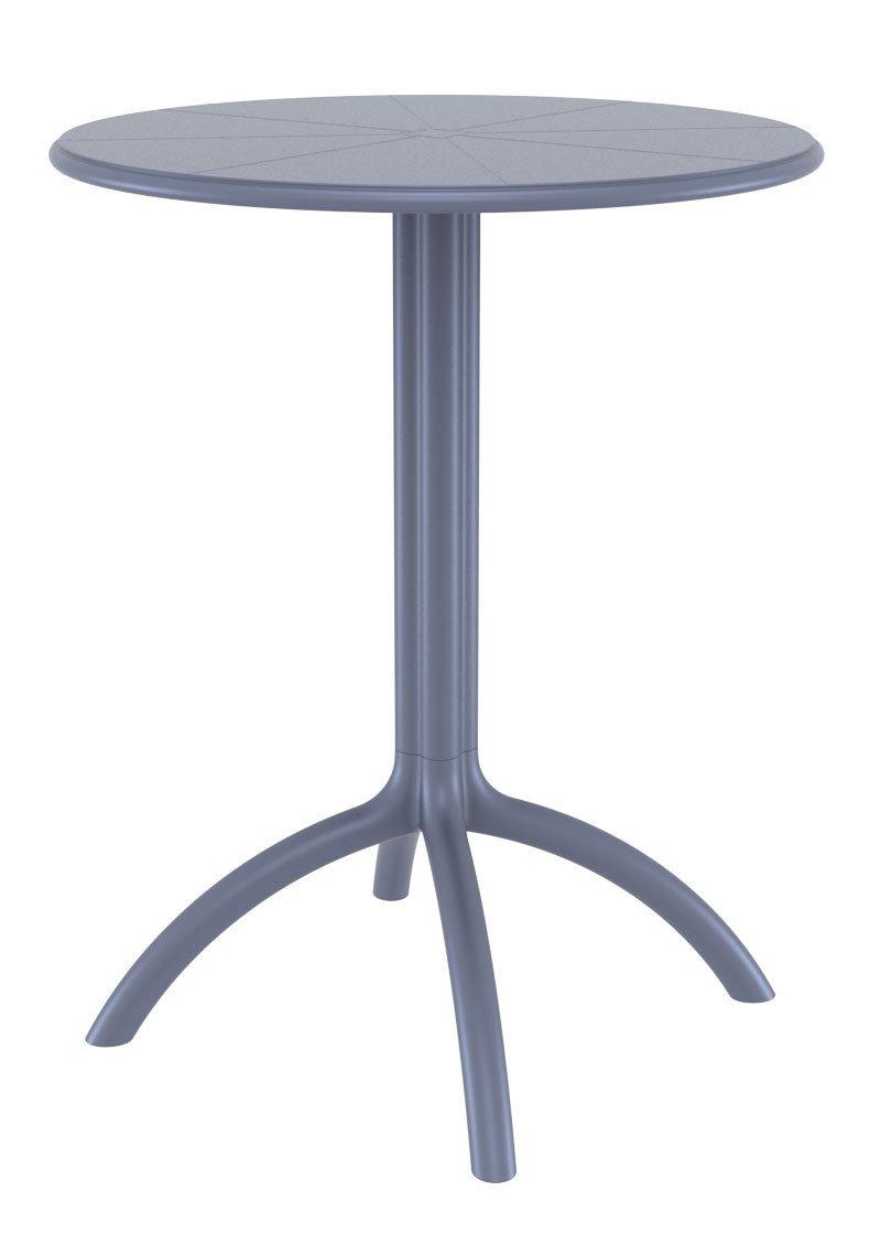 CLP runder Kunststoff-Gartentisch OCTOPUS, Durchmesser Ø 60 cm, wetterfest & stabil, ideal für die Gastronomie, Höhe 75 cm dunkelgrau