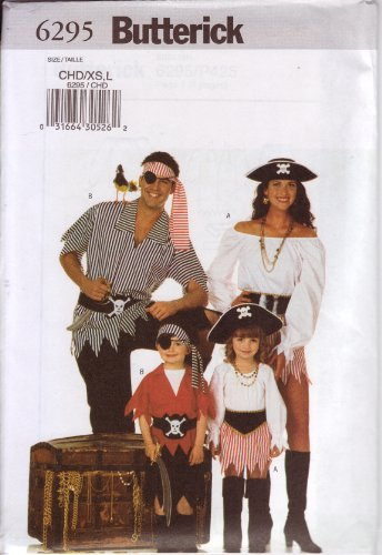 Butterick Sewing Pattern 6295 Children's/Girl's/Boy's Pirate Costumes