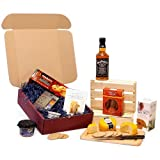 Jack Daniels Whiskey & Mens Nibbles Gift Hamper - Burgundy Gift Box with Spanish Smoked Chorizo Sausage, Rick Stein Savoury Biscuits, Snowdonia Cheese Truckle, Green & Black's Organic Chocolate Treat Collection & More - Luxury Valentines, Mothers, Father