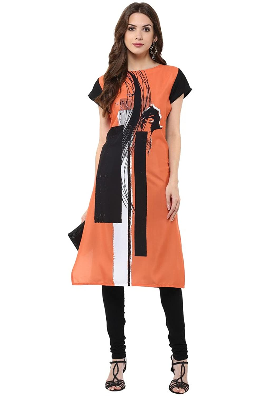 Amazon :  Janasya Women's Orange Casual Crepe Kurti @ Rs.319/- [Lightning Deal]
