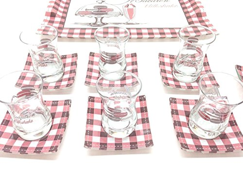 14 Pieces Nice Turkish Tea Set!! Tea Glasses,Saucers,Tray,Sugar Bowl
